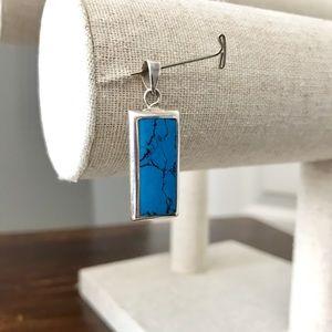 Jewelry - Turquiose & sterling silver rectangular pendant